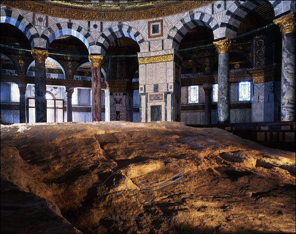 Interior photographs of and in the Qubbat al-Sakhra (Dome of the Rock), Masjid al-Aqsa, Haram al-Sharif, Jerusalem.