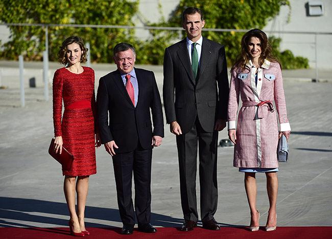 Regele Abdullah al Iordaniei cu regin aRania, alături de Regele Felipe al Spaniei și regina Letiția